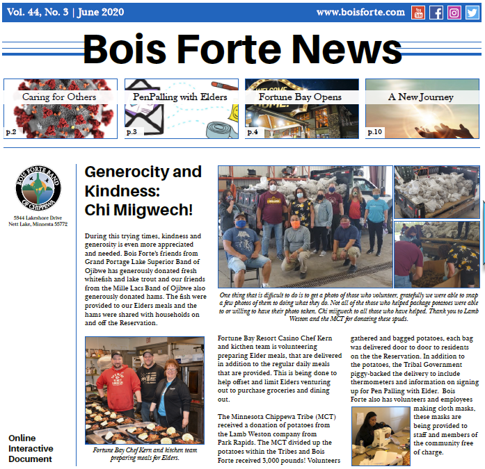 June 2020 Issue of Bois Forte News front page snippet,