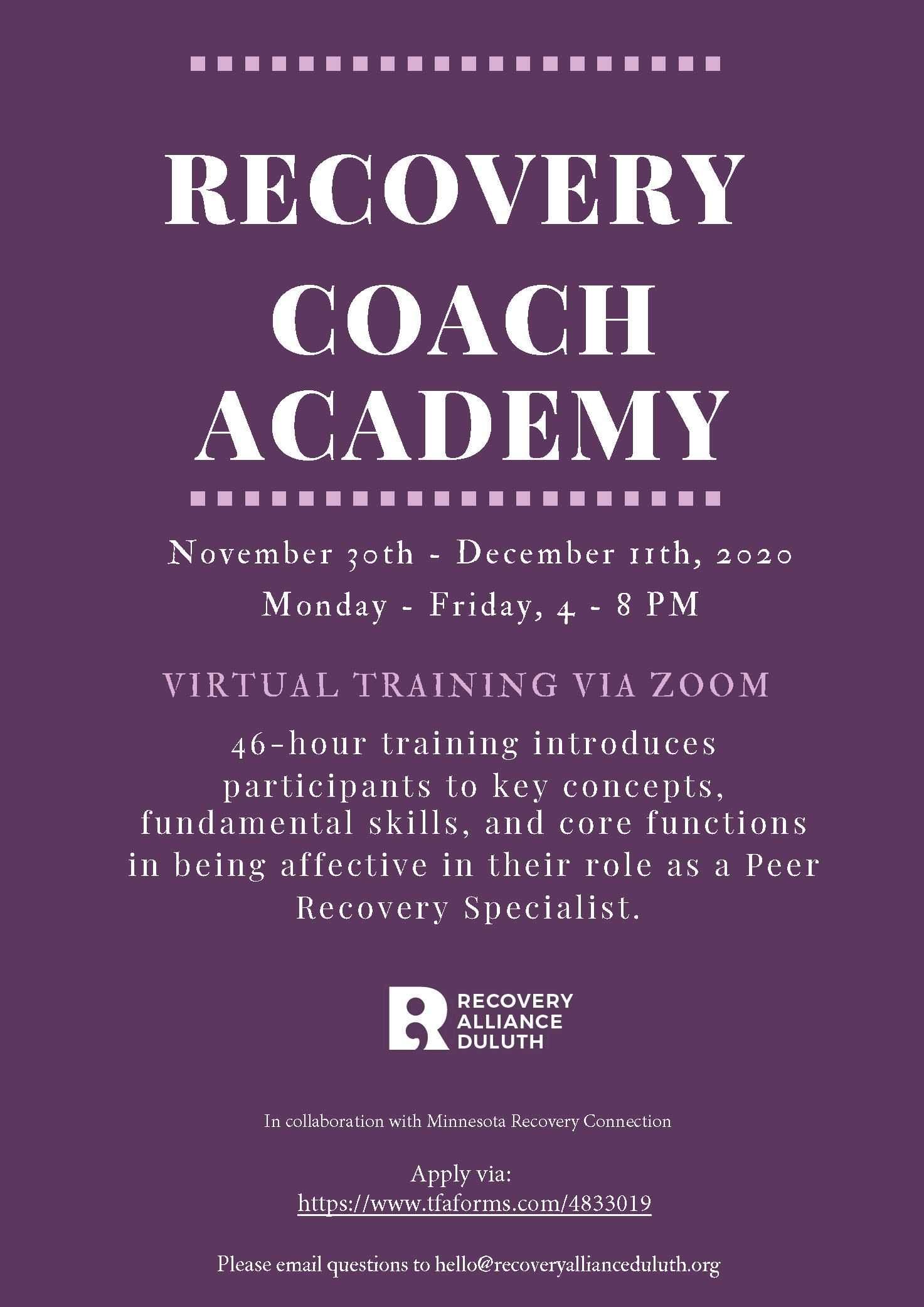 Recovery Coach Academy - Virtual Training