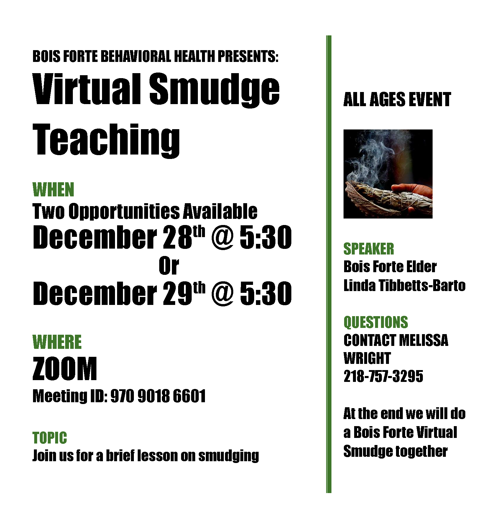 Virtual Smudge Teaching